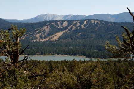 Big Bear Lake with Ski Resort and Hills
