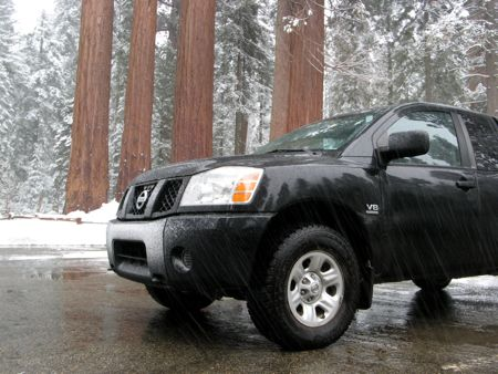 My truck in the Grant Grove parking lot, getting snowed on.