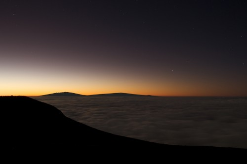 Haleakala Summit before sunrise with Mauna Kea and Mauna Loa