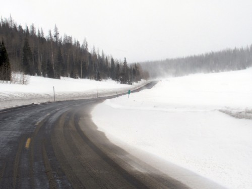 Snow on Highway 14 in Utah