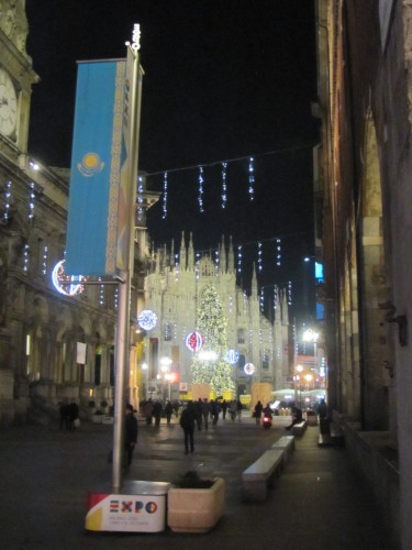 The Duomo in nighttime Christmas trim and with the flag of Kazakhstan for some reason.