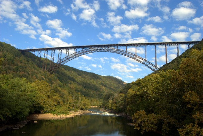 New River Gorge Bridge, with Clouds