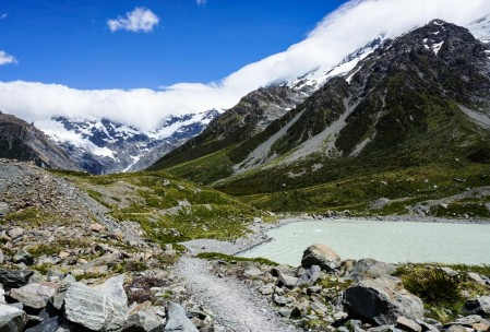 Kea Point, Mueller Glacier Lake, and the Southern Alps