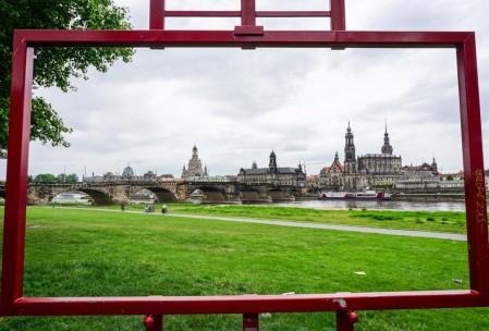 """Dresden Altstadt through the """"Canaletto Window""""."""