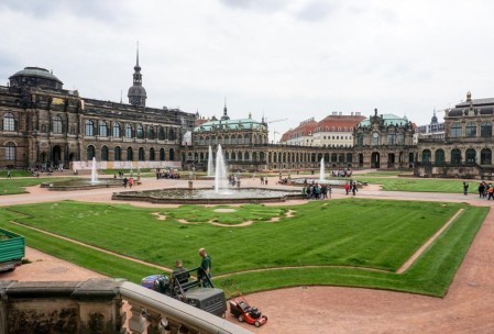 Courtyard of the Zwinger with lawn crew.
