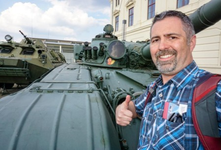 Me with a Soviet-built DDR tank. There was an outdoor display of West and East German military vehicles. The West's were better (was the message).
