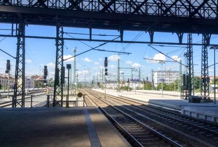 Waiting for the train in the Neustadt Bahnhof.
