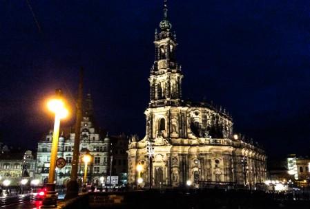Hofkirche at night with an iPad.