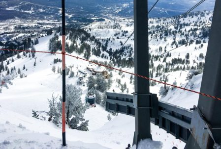 Top of the downhill course start tram at Snowbasin.