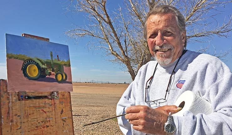 artist painting farm picture