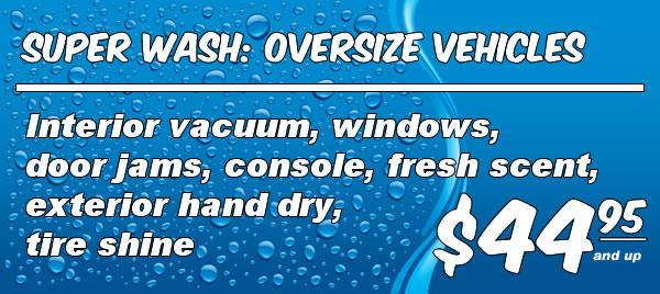 Full Service Wash: Oversize Vehicles