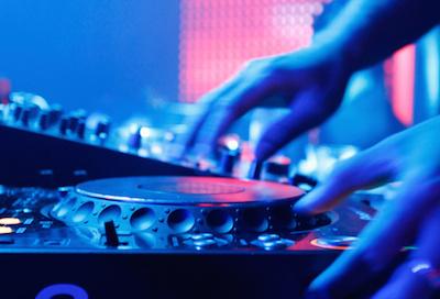 DJ plays turntable