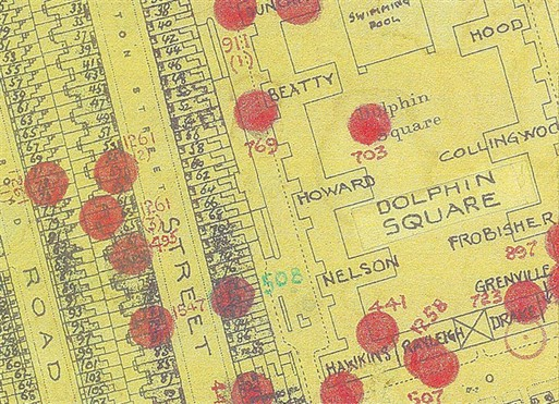 Bomb Map - Dolphin Square 1940 (Copyright: Westminster City Archives)