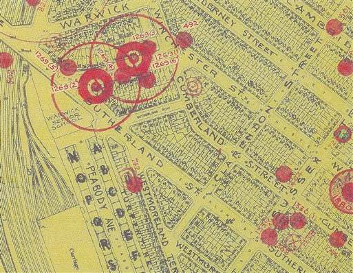 Bomb Map Sutherland Terrace (Copyright: Westminster City Archives)