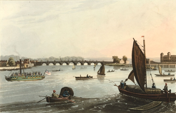 View of the Vauxhall Iron Bridge by Robert Havall, 1821. Courtesy of the British Museum