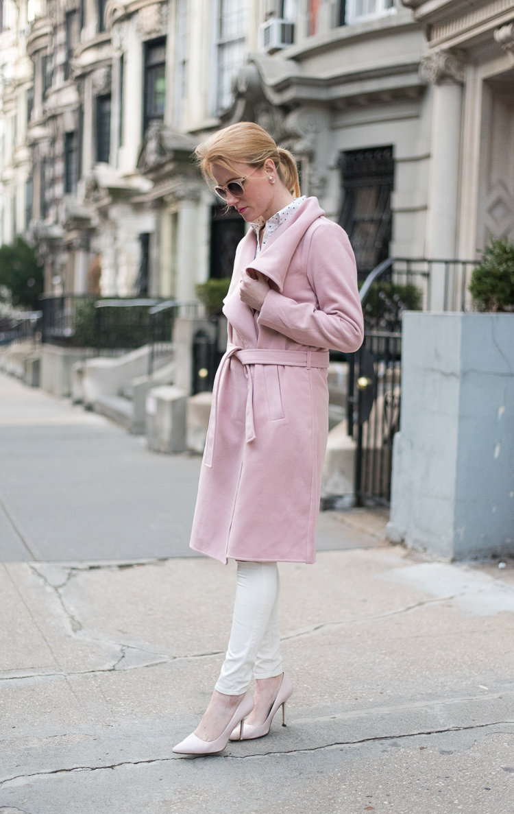 NYC Fashion blogger Pink Coat styling