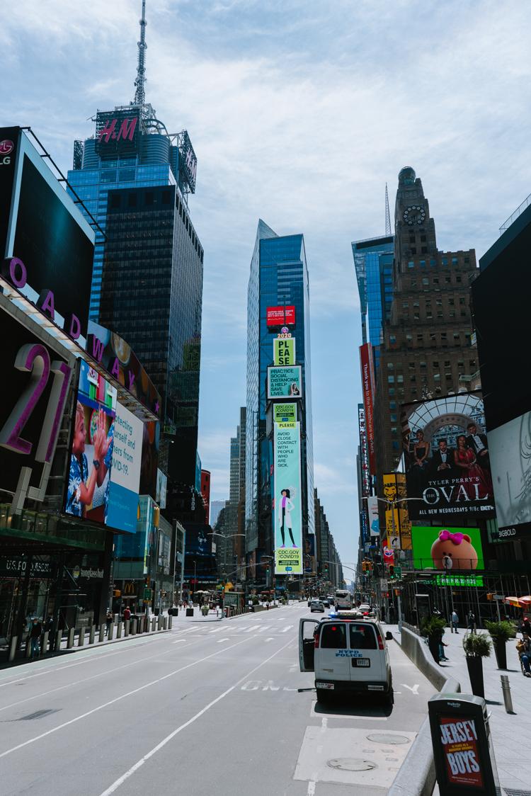 Times Square vide pendant le confinement sous le coronavirus