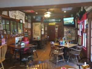 The wooded dining area of Olde Tyme Grocery in Lafayette