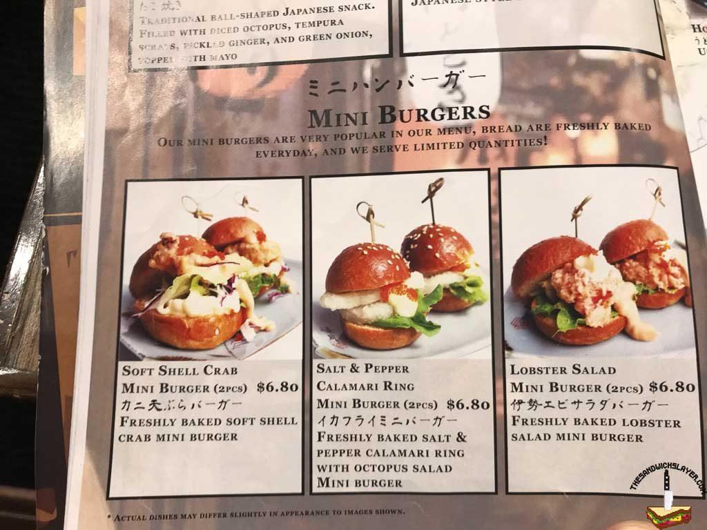 The Mini Burger menu at Gyoza Gyoza in Adelaide