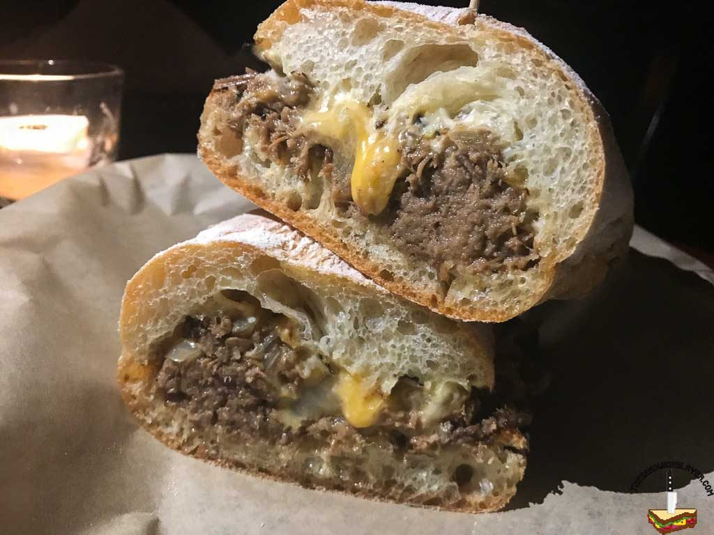No. 4: Braised Beef, Cheddar cheese, grilled peppers, onion, and horseradish Aioli
