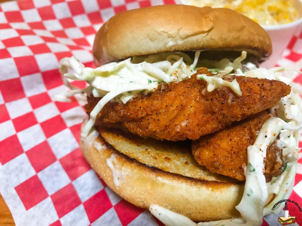 Rooster Republic Nashville Hot Chicken tender sandwich