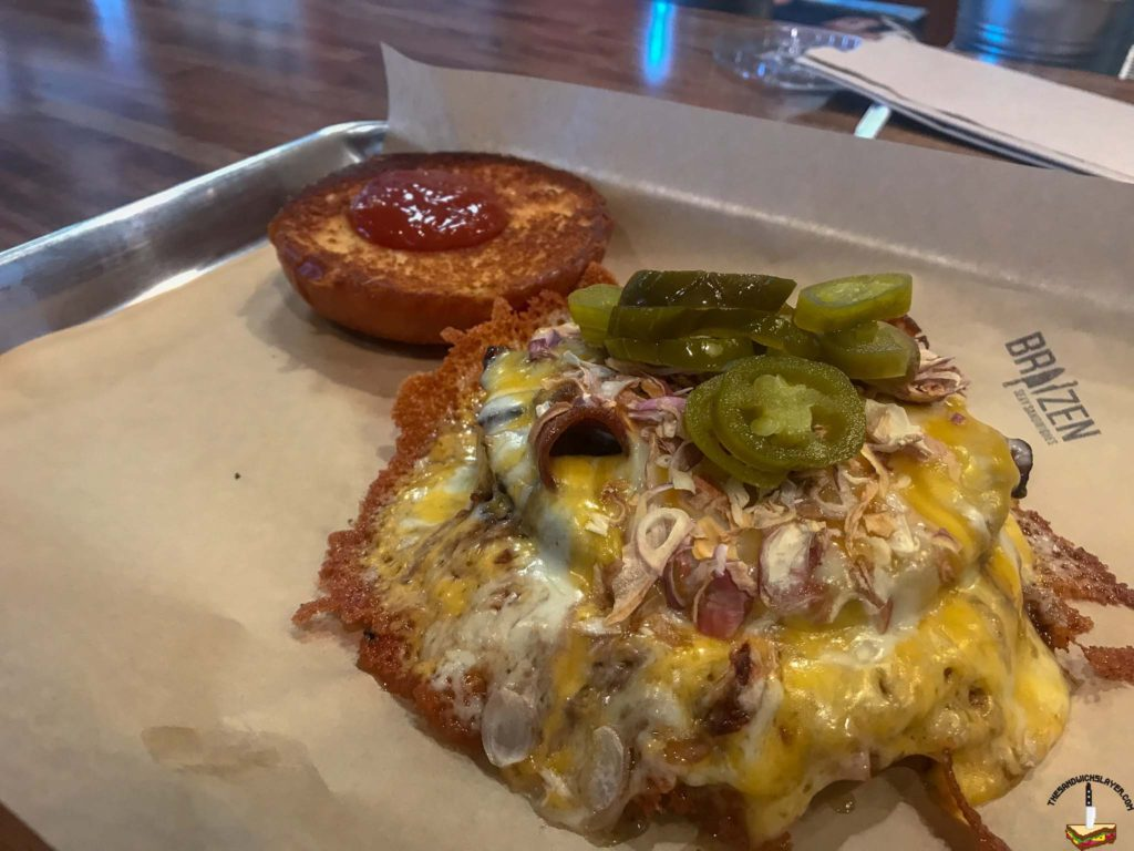 BBQ Bacon Burger from Braizen with a nice looking cheese skirt