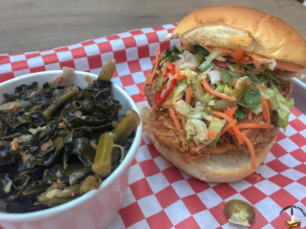 The Southern Samurai with bacon braised greens and chilies