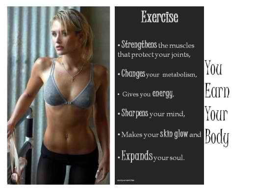 Fitness Motivational Quotes Exercise, You Earn Your Body