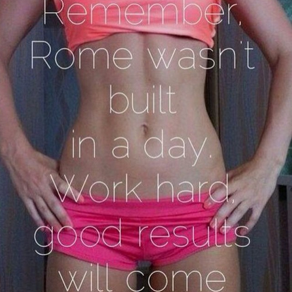 Fitness Motivational Quotes Remember, Rome Wasn't Built In A Day. Work Hard, Good Results Will Come