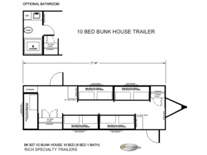 10 BED BUNK HOUSE TRAILER