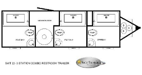 three station shower trailer combo with large rooms