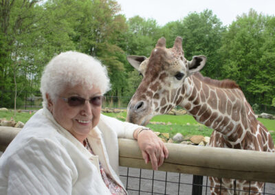 Berverly of QLS-Mercer dreamed of spending some one-on-one time with the giraffes at Keystone Safari