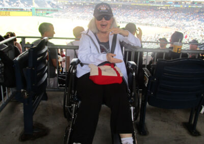 Doris really knows how to have fun at a Pirates game