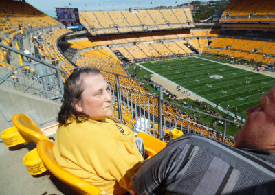 Kathy spent a beautiful day at Heinz Field cheering on the Steelers