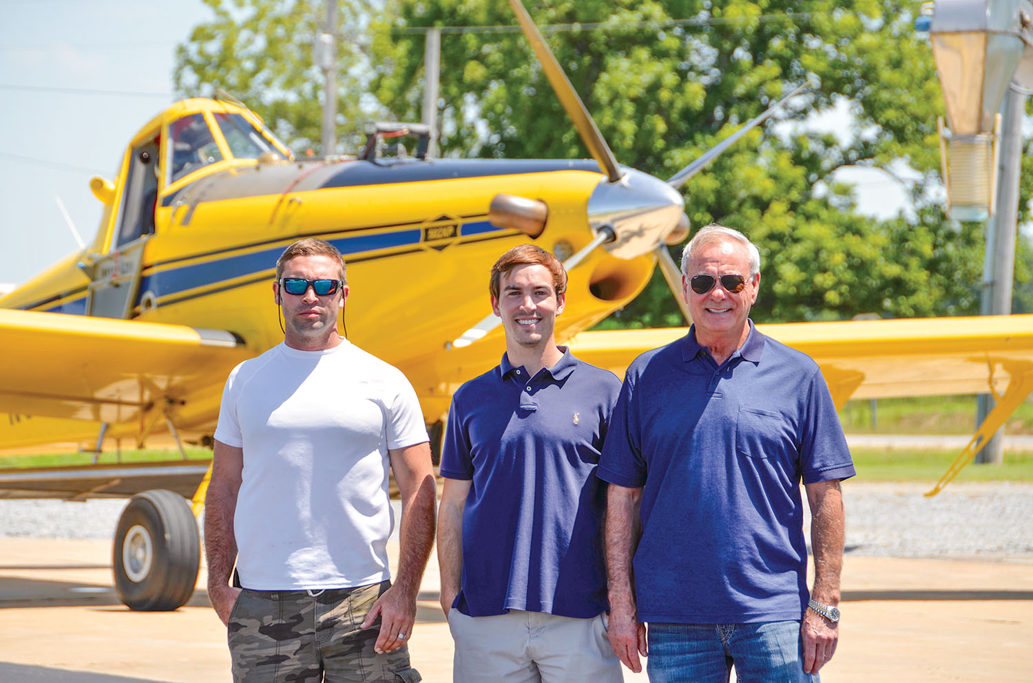 (L-R) Garrett Smith, 502XP pilot for Frost Flying Service, Garrett Frost and Jack Frost.