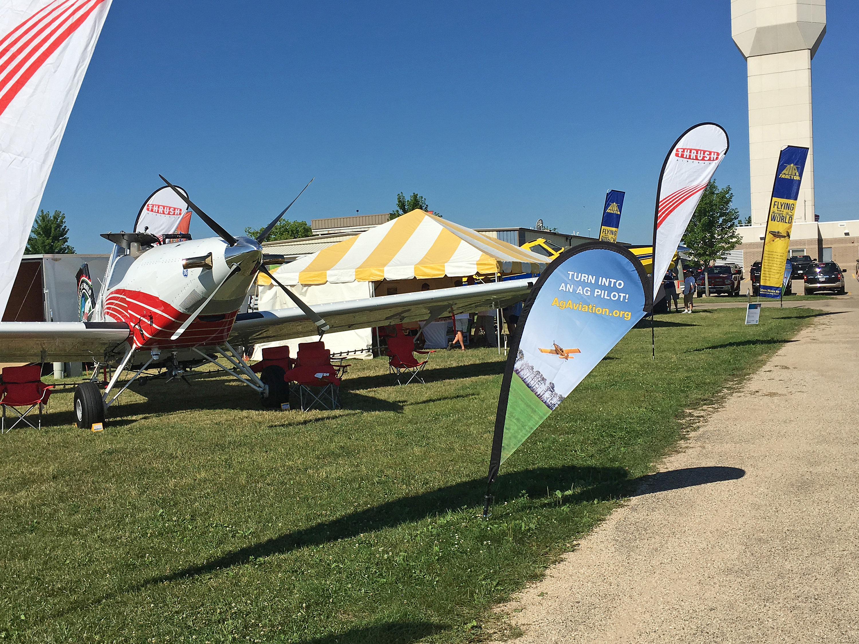 The NAAA booth at 2016 AirVenture. Thrush Aircraft, Air Tractor, Flying Tigers and Eagle Vistas also contributed.
