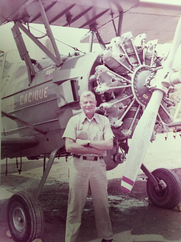 "William Robert ""Bob"" Griebling with his El Cacique (The Chief) A-model 600 HP Ag-Cat, circa 1985"