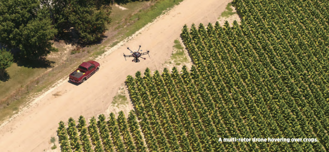 Farming with Drones Beyond the Visual Line of Sight