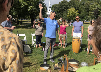 Peter Hawes kicks off a drumming circle