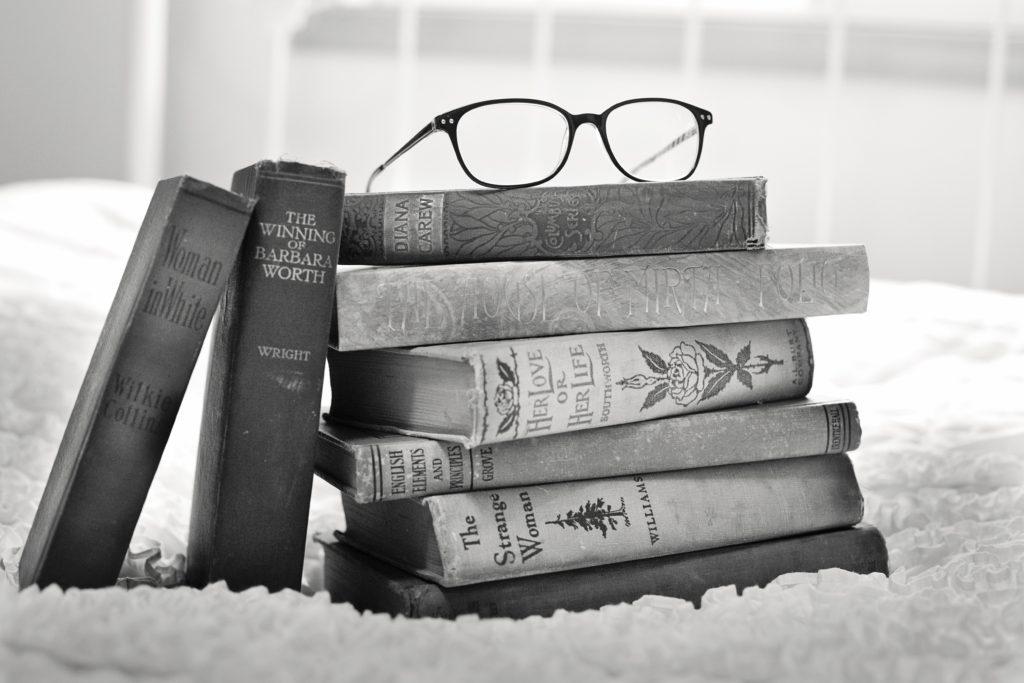 Black and White photo of books