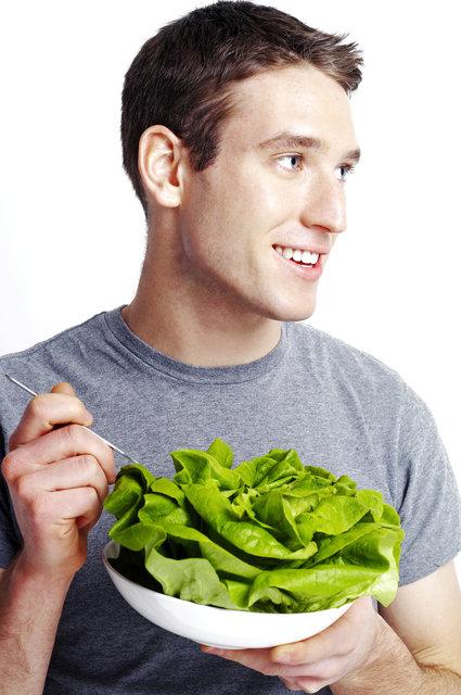 man eating healthy food