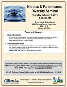 Nitrates in Groundwater and Farm Income Diversity Seminar @ Green County Justice Center - Multi-Purpose Rooms, Lower Level