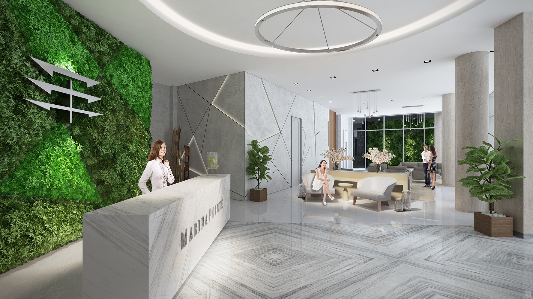 Dramatic vaulted entry lobby