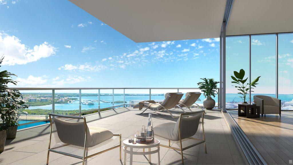 Beautiful balcony with views of Tampa Bay and the District
