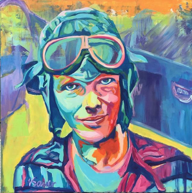 """Amelia Earhart 36""""x 36"""""""