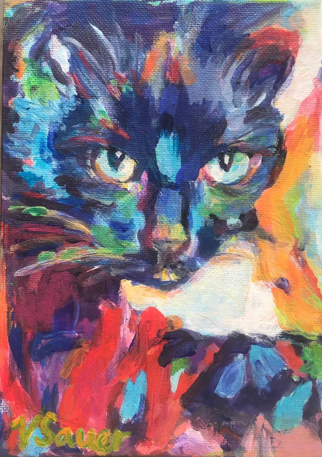 "Jules Black Cat 5""x7"""