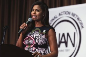 White House staffer Omarosa Manigault speaking at the Women's Power Luncheon in New York, April 27, 2017.Richard Drew/AP