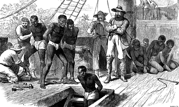 Artwork depicting slaves being brought to America on a ship headed to Jamestown, Virginia