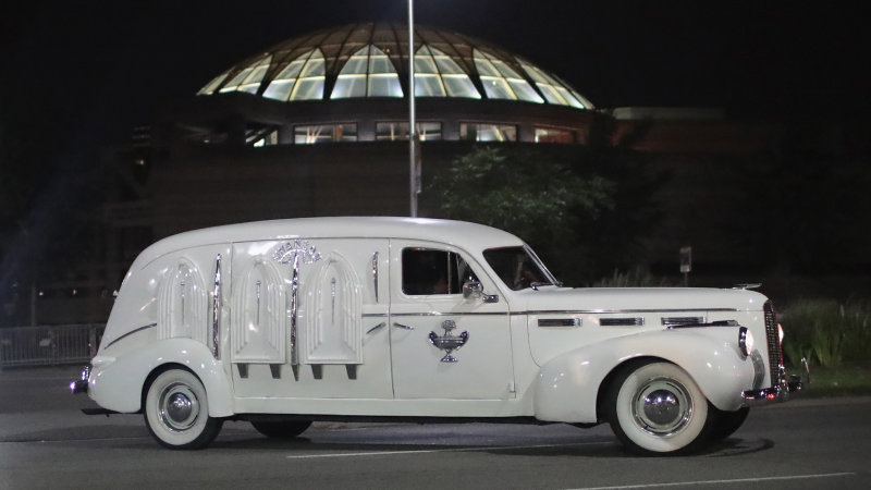 DETROIT, MI - AUGUST 28: A vintage hearse carrying the remains of Aretha Franklin leaves the Charles H. Wright Museum of African-American History following a day-long public viewing on August 28, 2018 in Detroit, Michigan. Franklin will lie in repose at the museum for another day-long public viewing tomorrow. Franklin's funeral will be held Friday at Greater Grace Temple. (Photo by Scott Olson/Getty Images)
