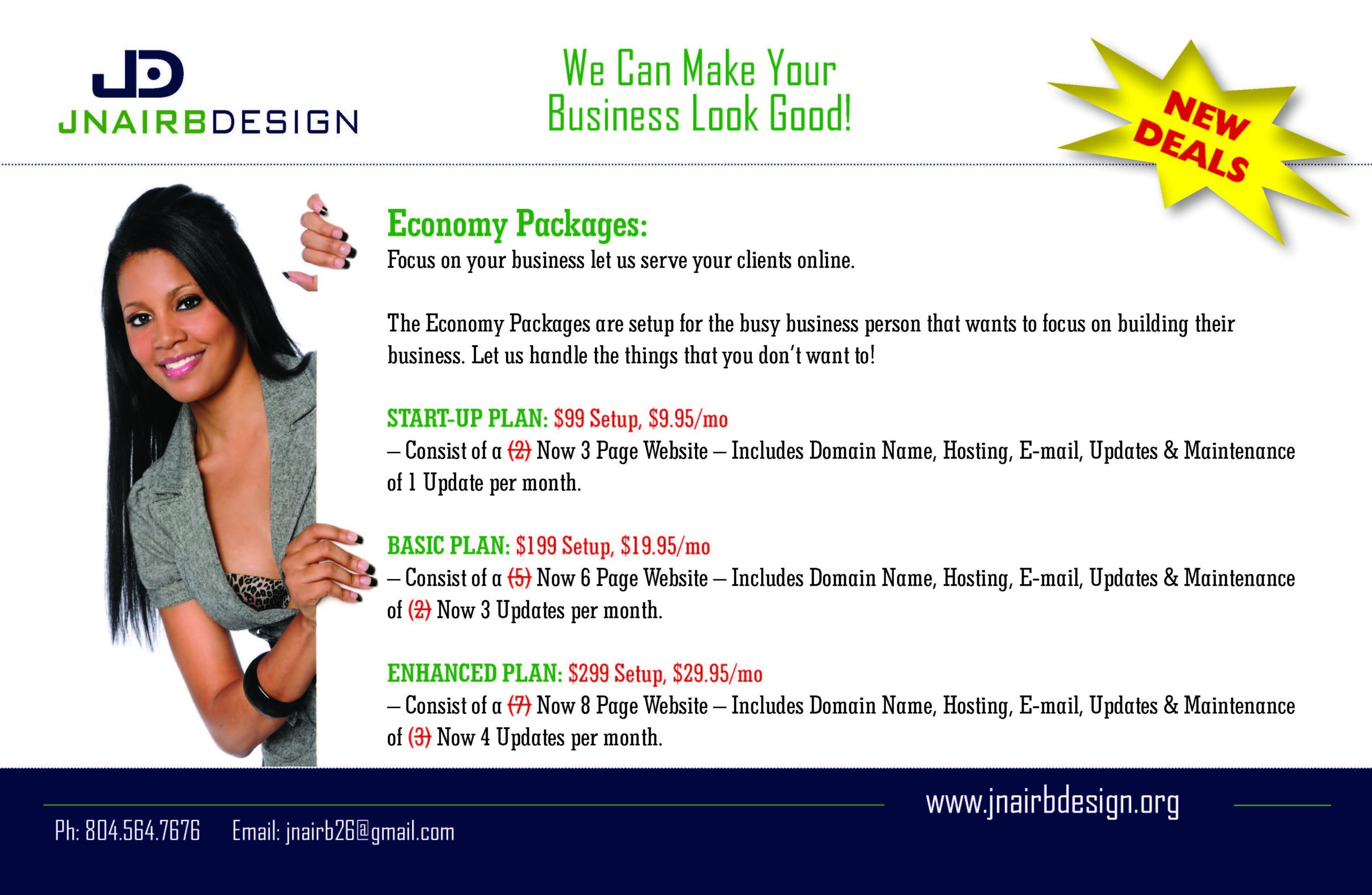 Economy Packages: Focus on your business let us serve your clients online.